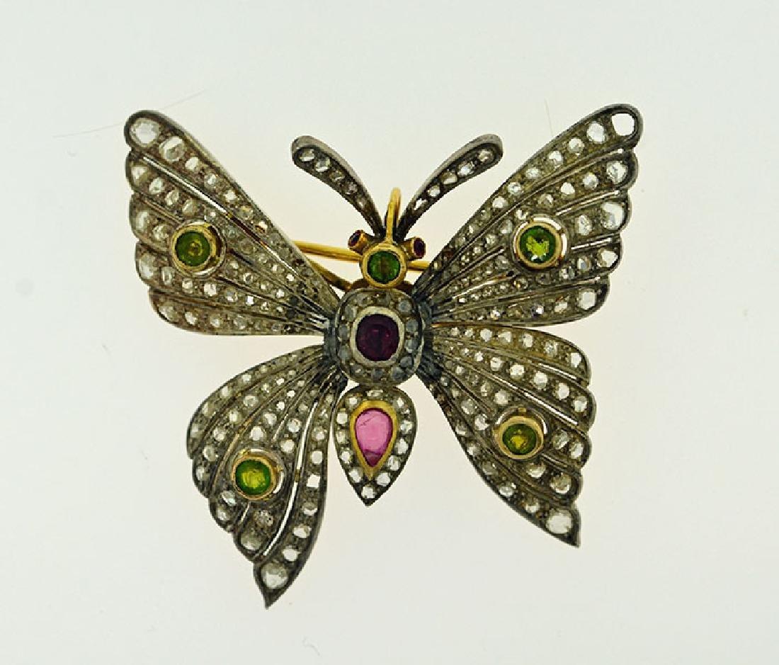 Edwardian Gen Set Butterfly Brooch