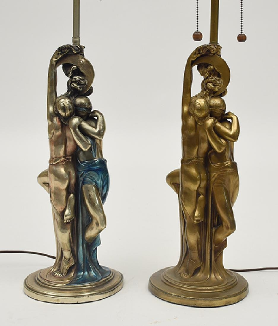 "Two similar bronze clad table lamps ""The Lovers"""