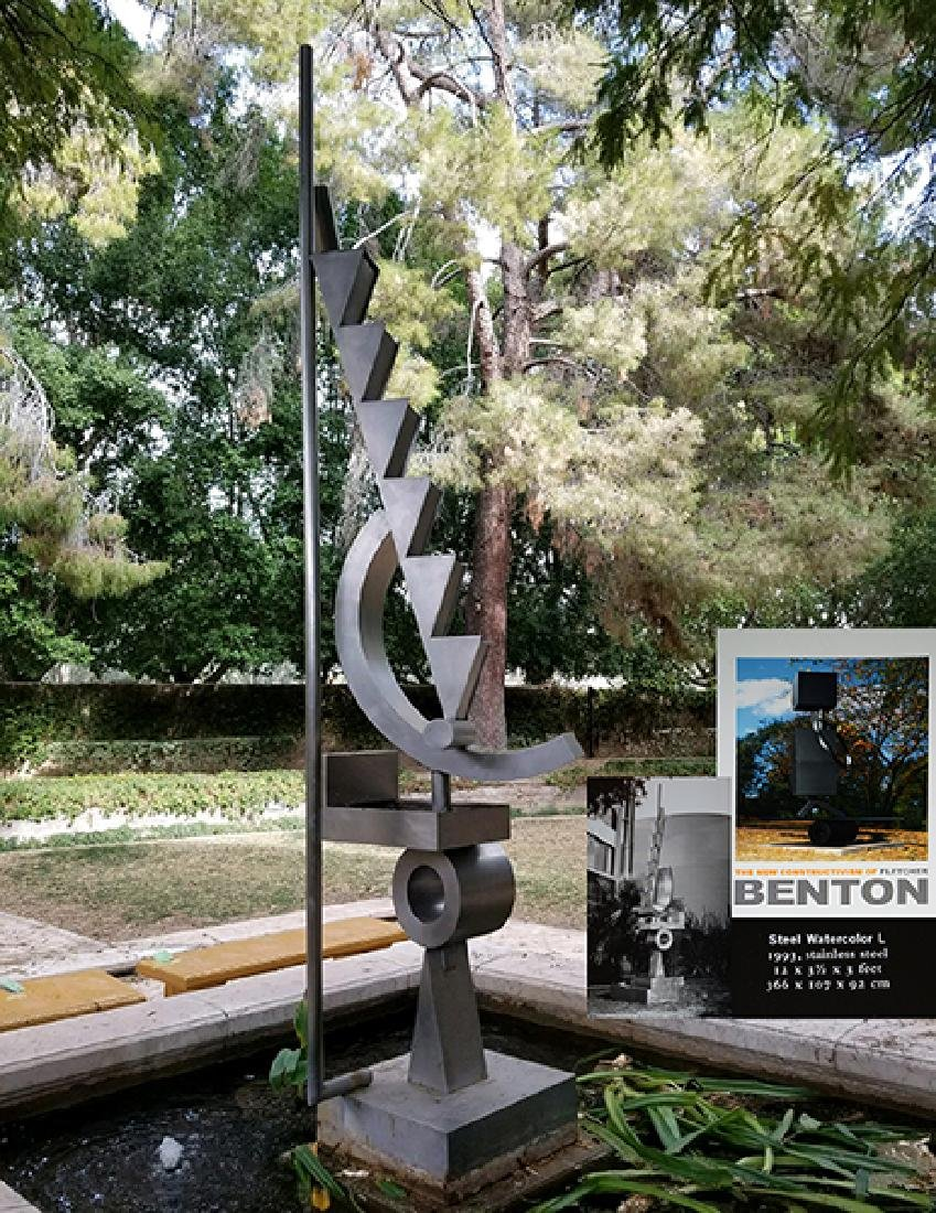 Exceptional stainless steel modern fountain by F.Benton