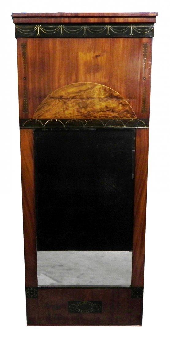 Mahogany and fruitwood Biedermeier mirror