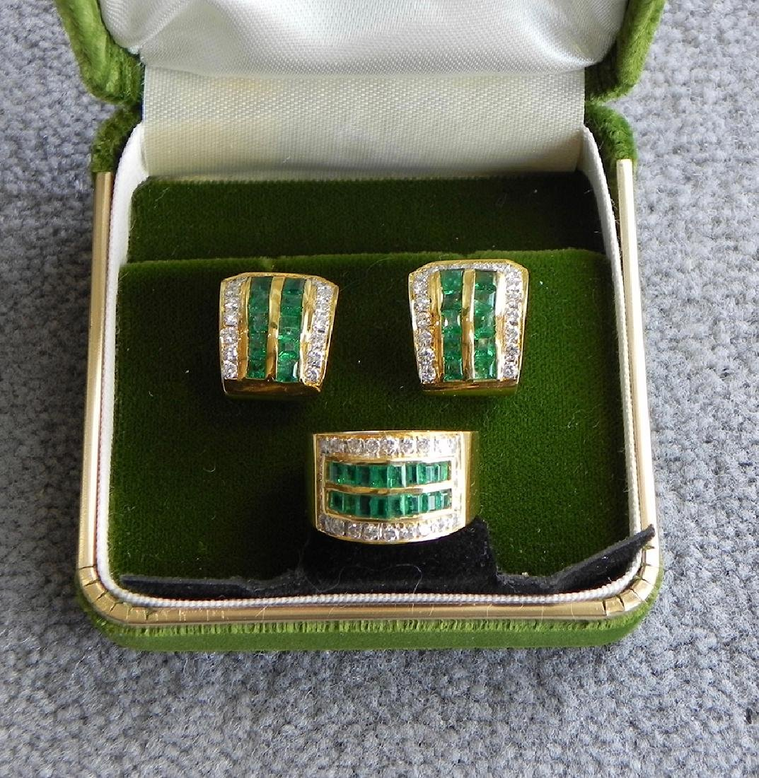 18k gold diamond and emerald suite