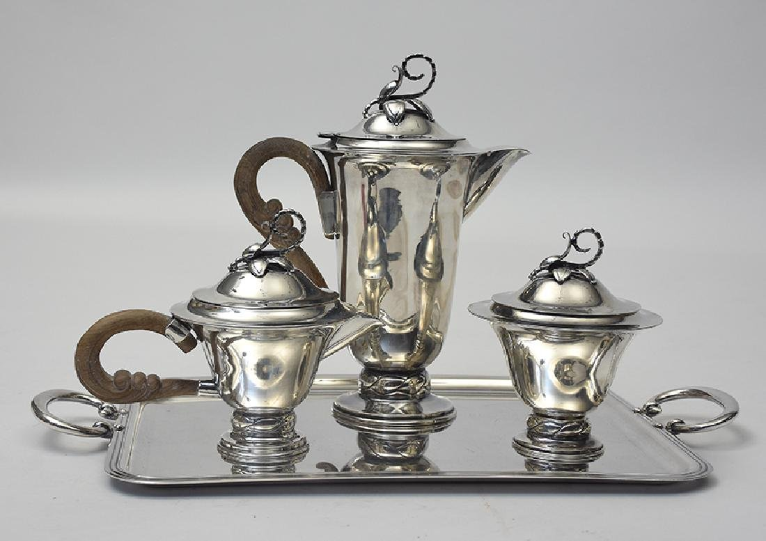 "Three piece Mexican silver tea service ""Lafayette"""