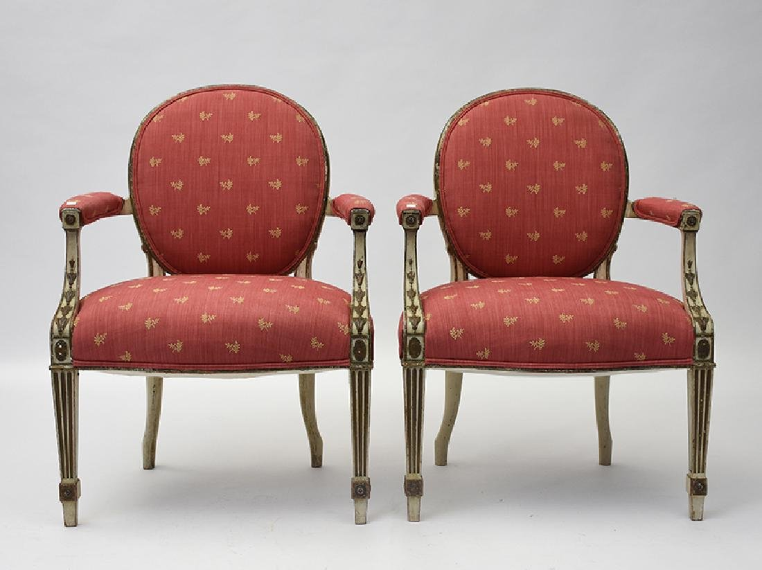 Pair of antique French Louis XVI style open armchairs