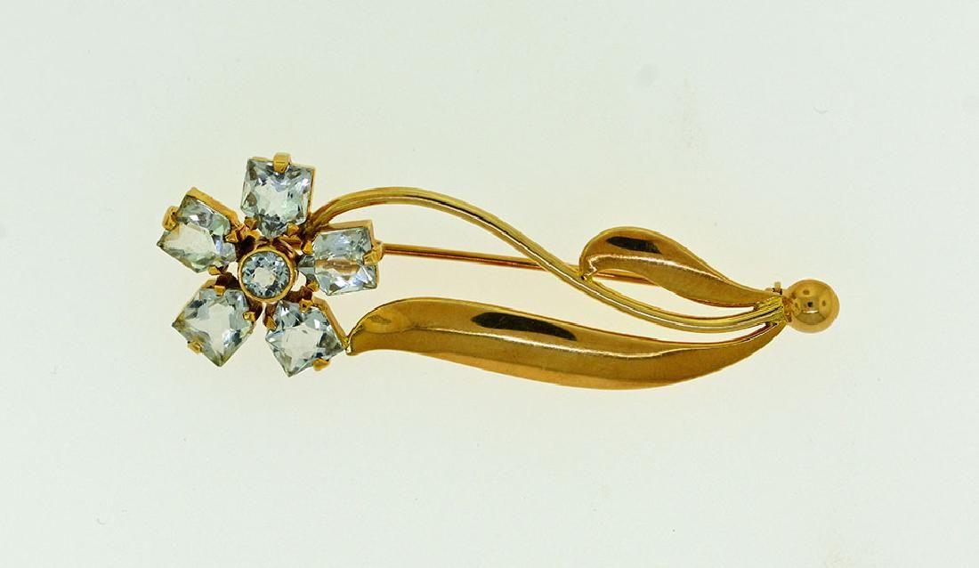1950's Cartier 14k Aquamarine Pin