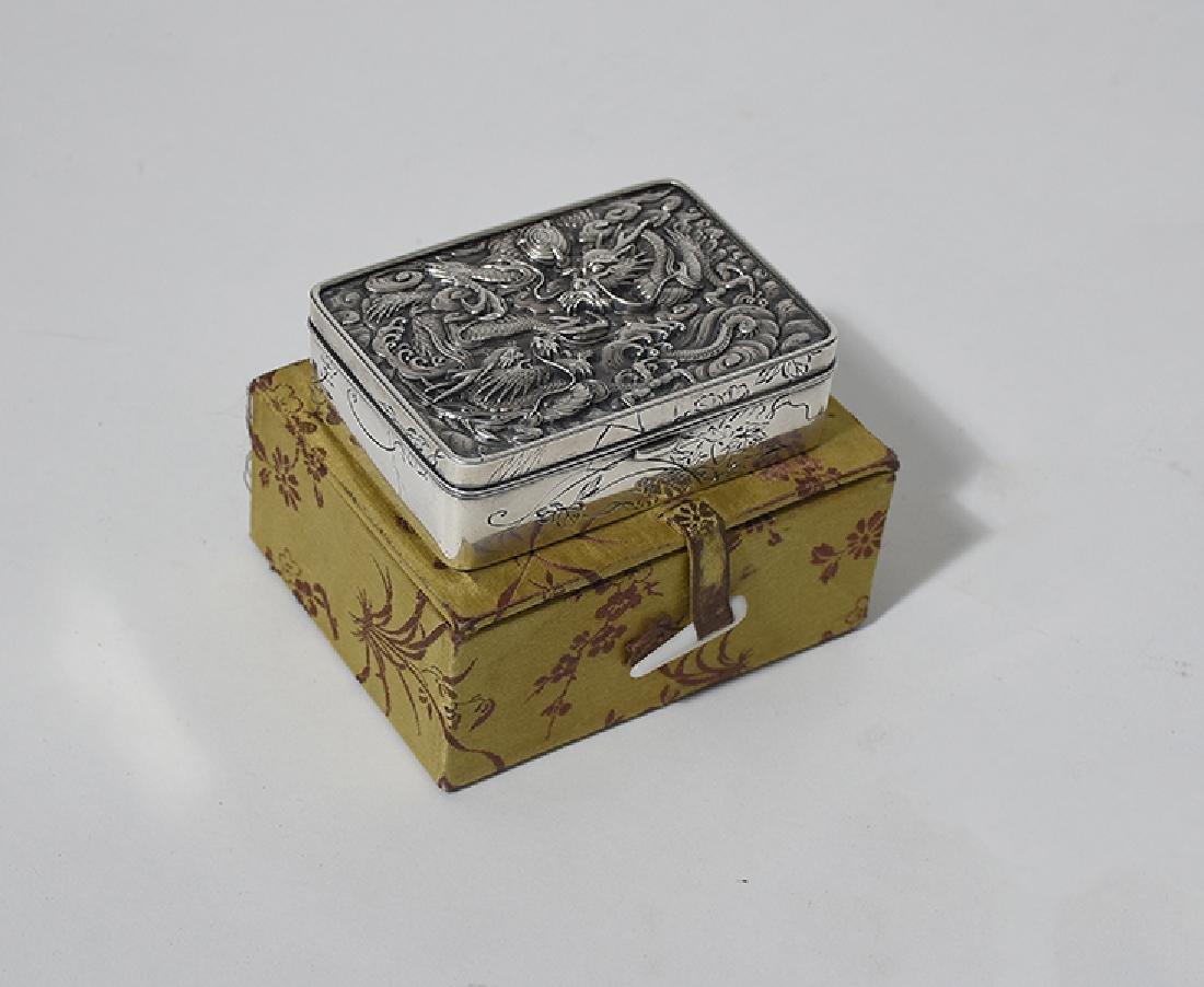 Chinese silver hinged box