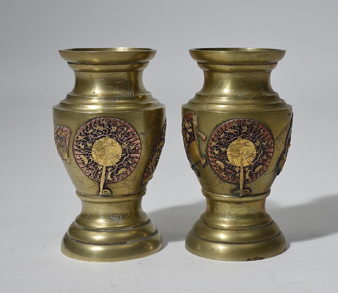 Pair of Japanese bronze and mixed metals Meiji vases