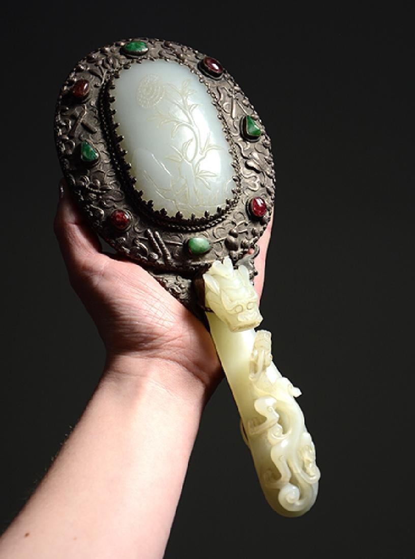 Fine Chinese silver and jade hand mirror