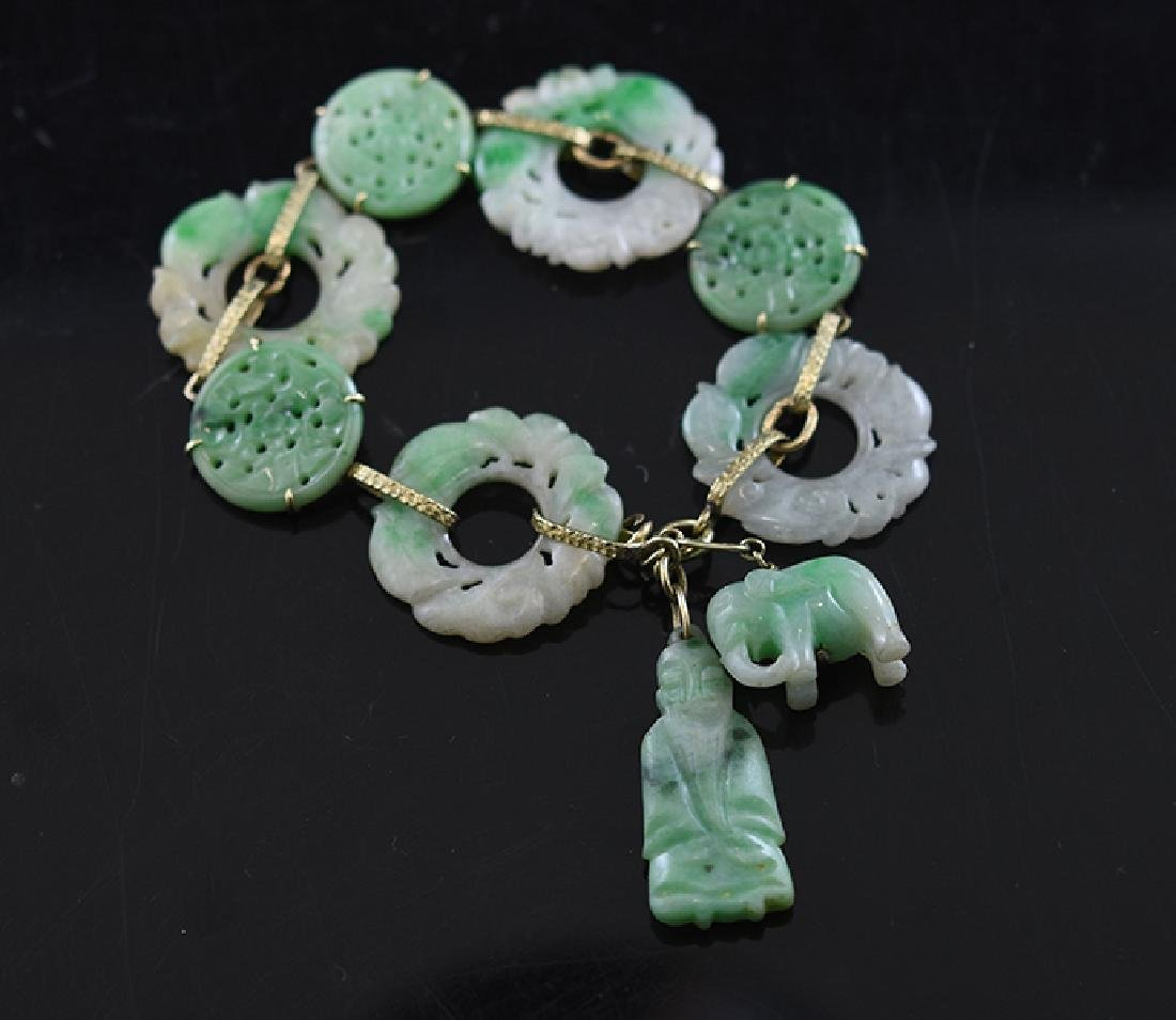 "14K Chinese Carved Jade ""Bi"" Discs"