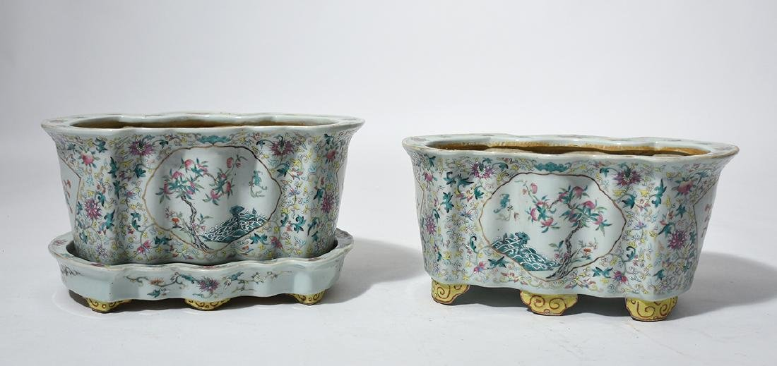 Pair of Chinese porcelain shaped planters
