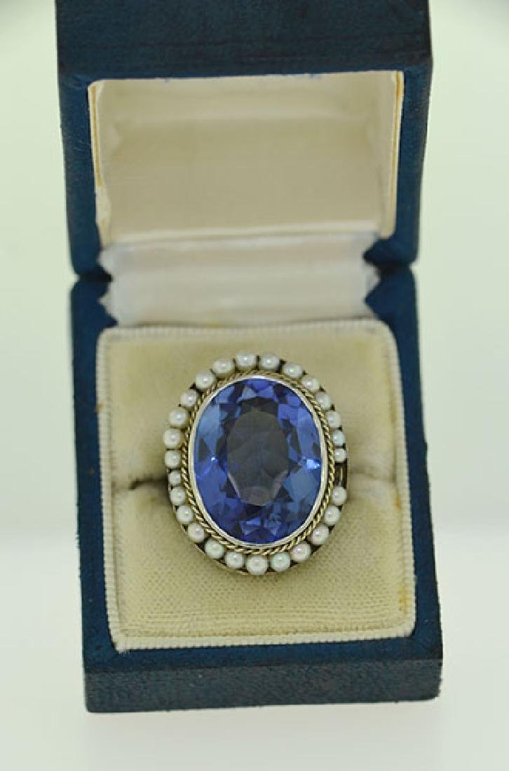 Edwardian Sapphire & Seed Pearl Ring