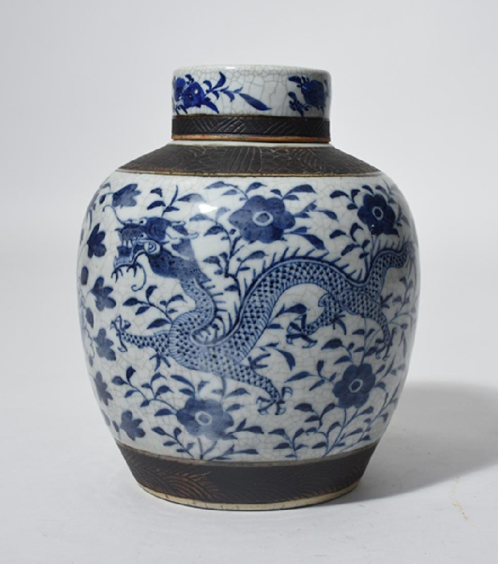 Chinese 19th C. porcelain blue/ white covered jar
