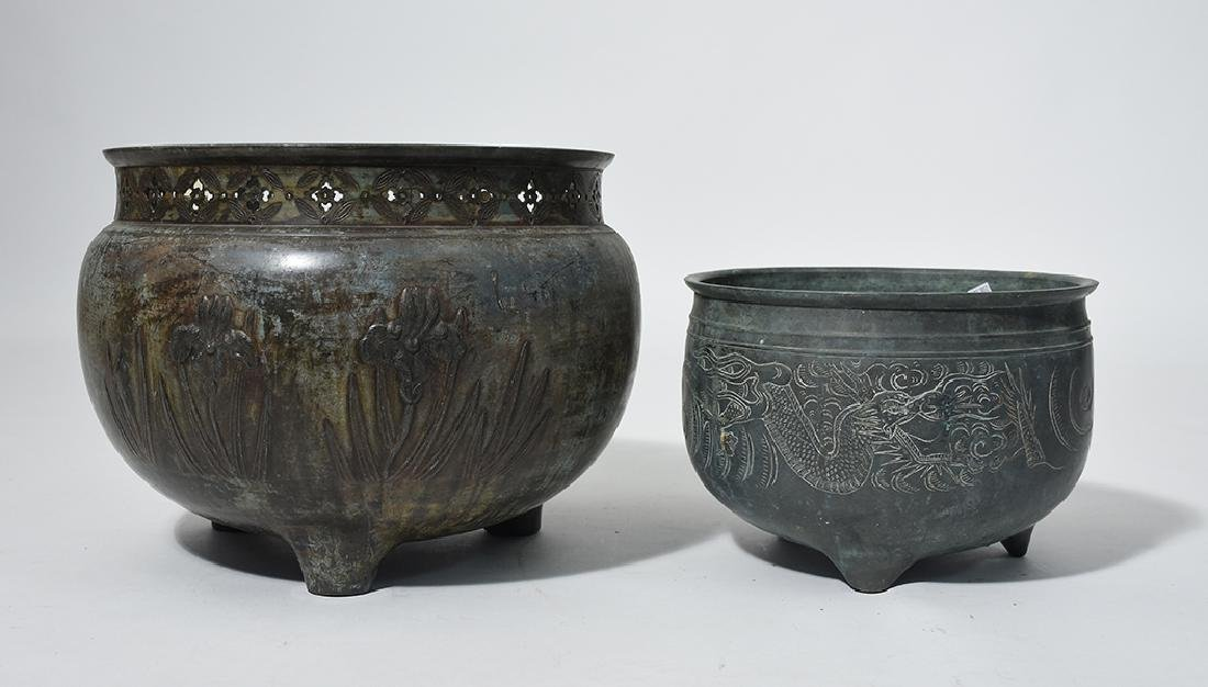 Two Asian Bronze Jardinieres