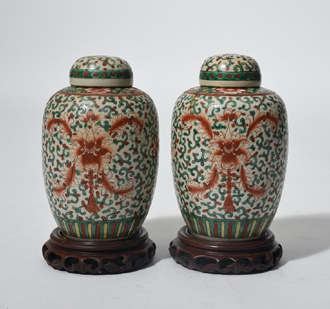 Pair of Chinese Famille Verte covered jars