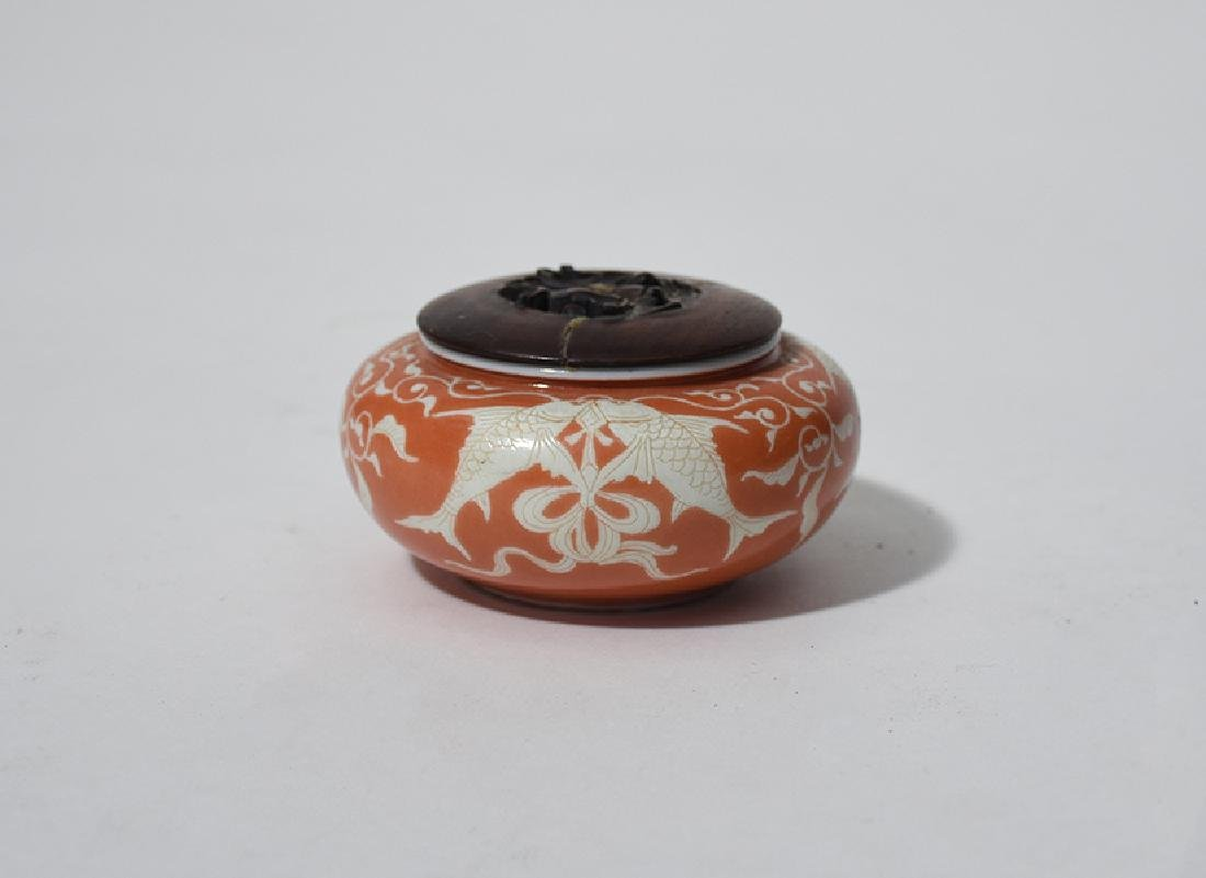Small carved Japanese porcelain censer with koi fish mo