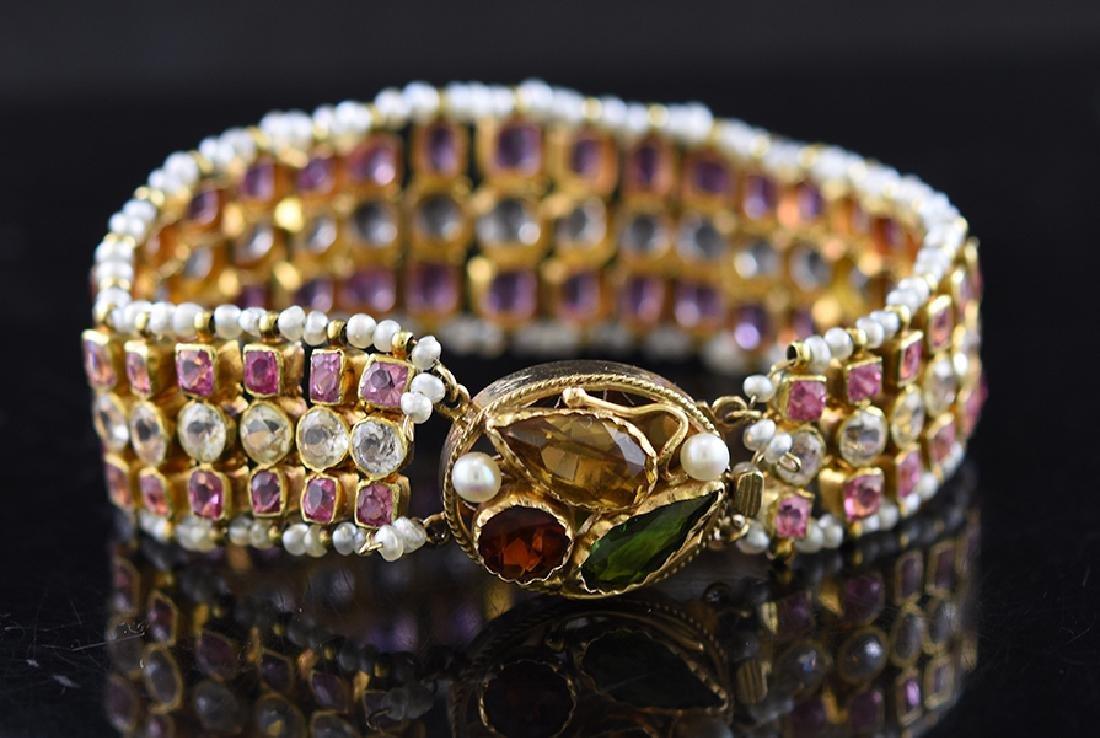 14K Bracelet Pink/Yellow Sapphires
