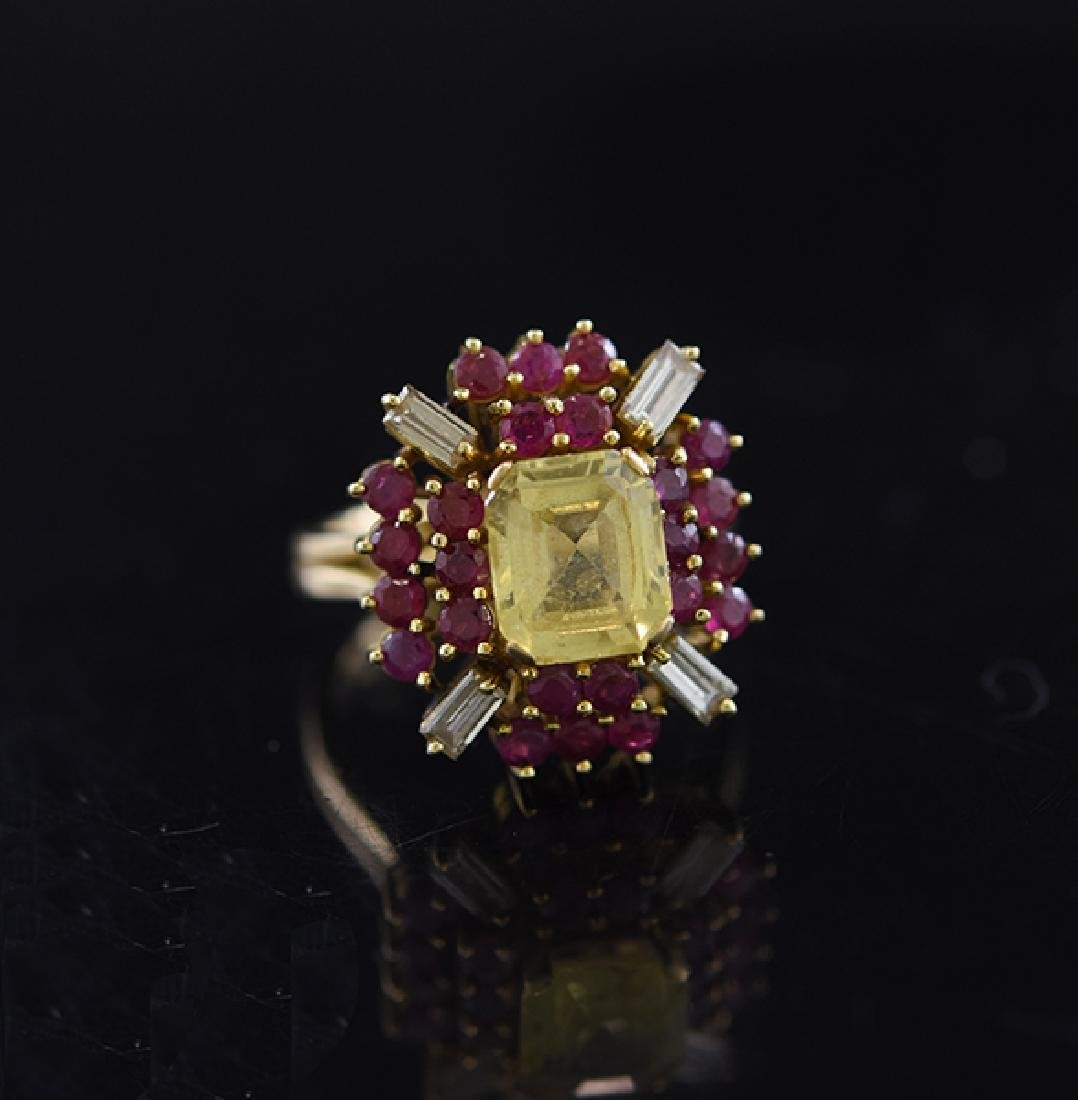 18K Topaz, Ruby & Diamond Ring