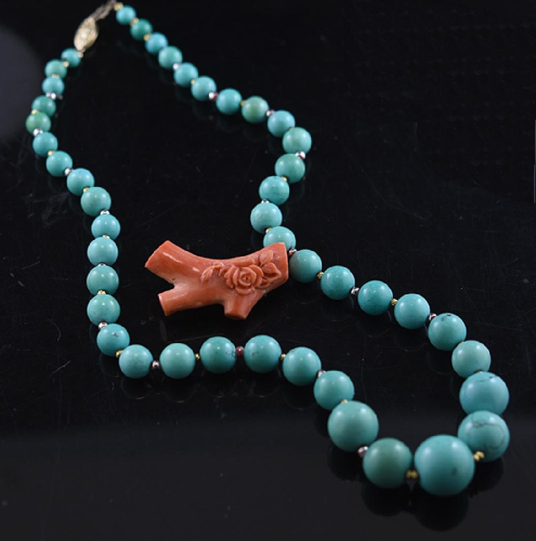 Turquoise necklace & Coral Pin