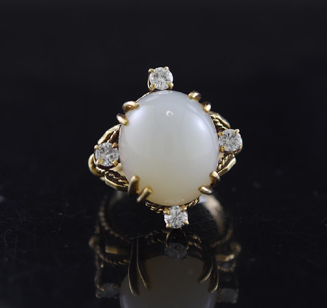 Gold Moonstone & Diamond Ring
