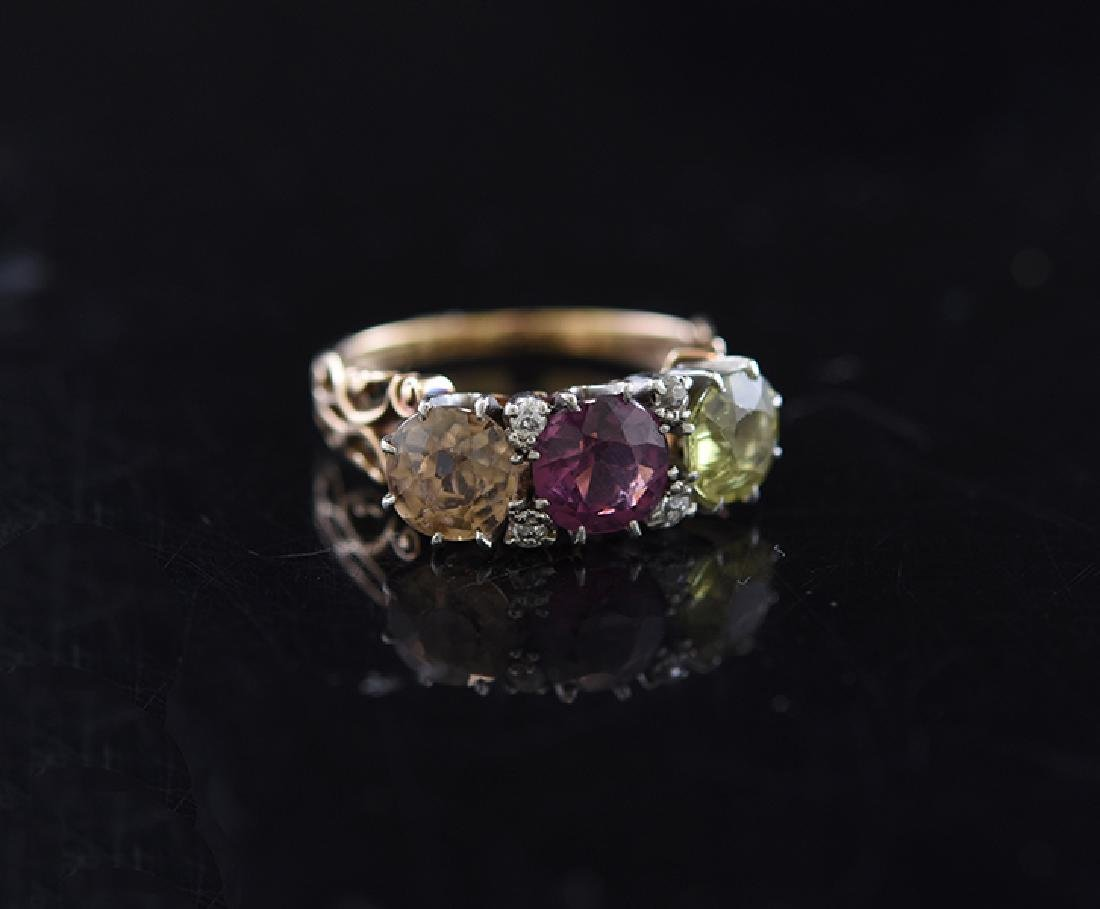 Topaz, Garnet, Peridot & Diamond Ring