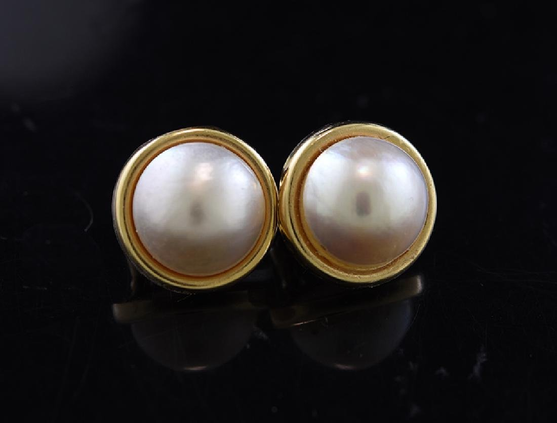 Gold Mabe Pearl Earrings