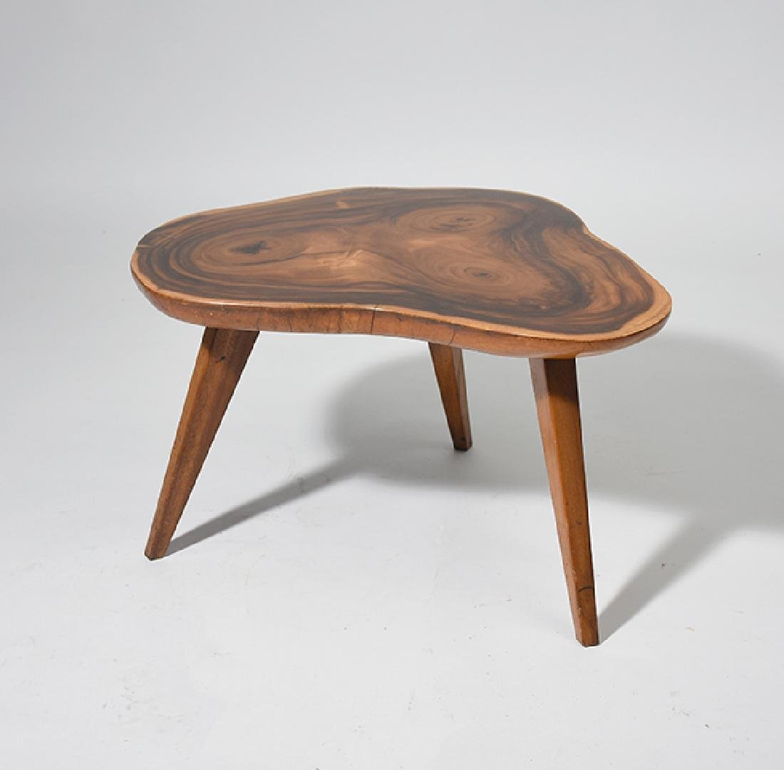 "Modern ""slab"" shaped top stand with three legs"