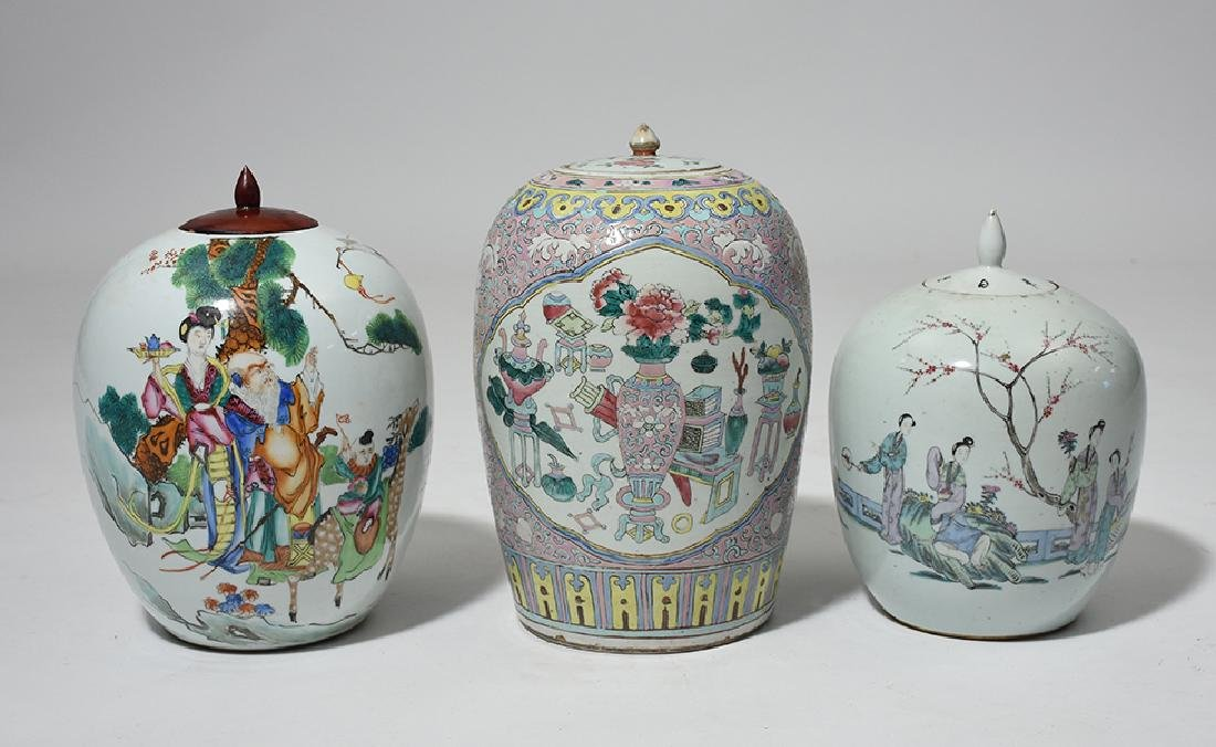 Group of three 19th C. Chinese porcelain covered jars