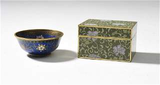 Fine Japanese cloisonné covered box along with a round