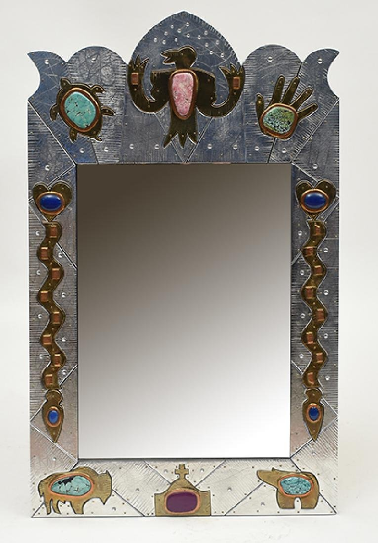 Southwest Design Mirror, Signed Wheelon