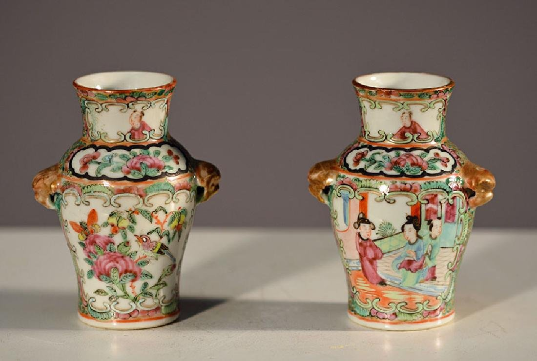 Pair of 19th C. Enamel Vases