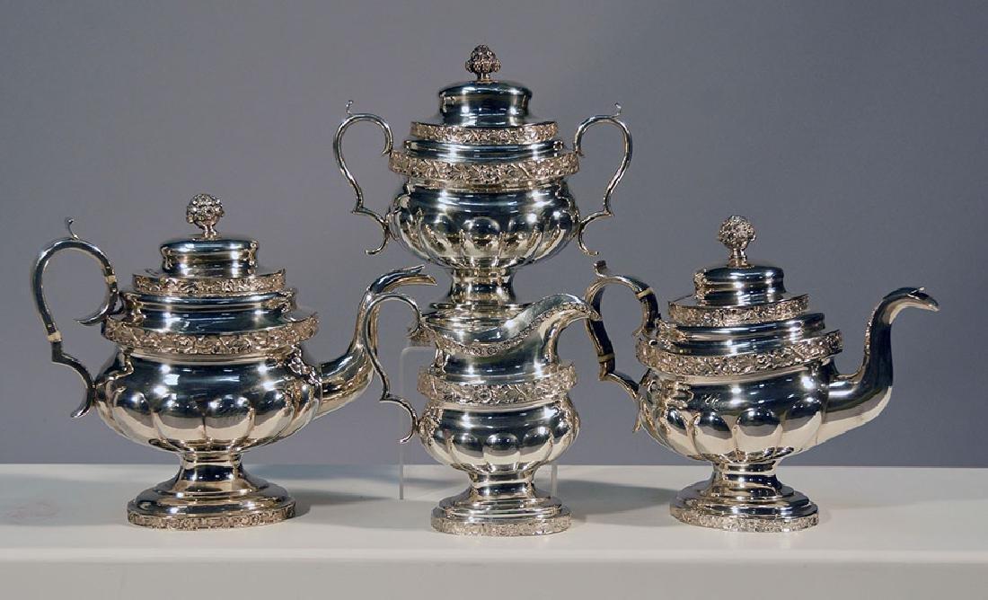 Coin Silver Tea Set, ca.1830's
