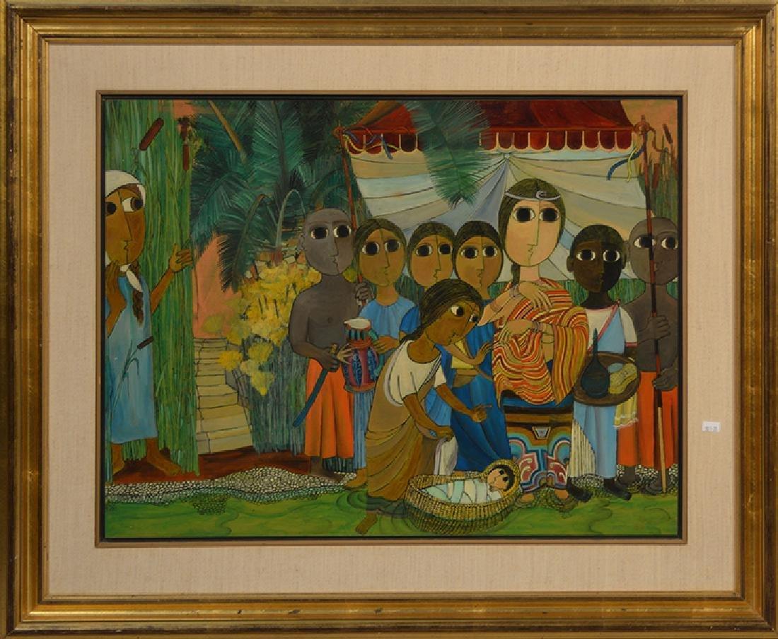 Israeli Painting on Wood Panel