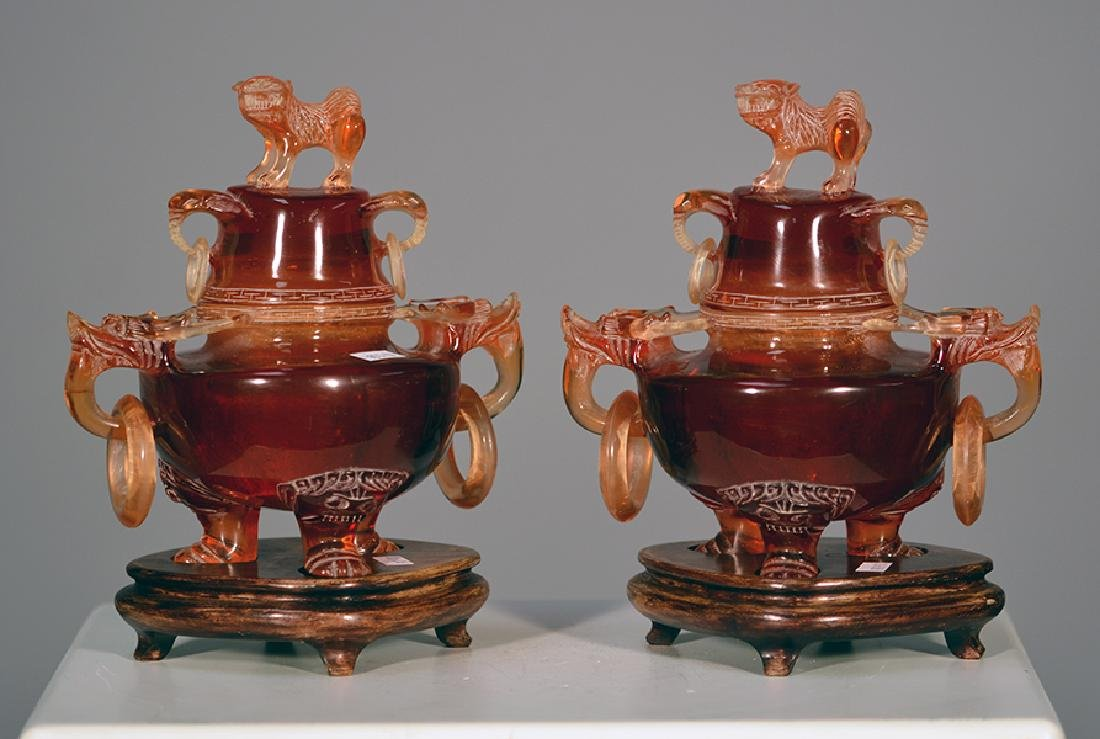 Two Chinese Carved Censers