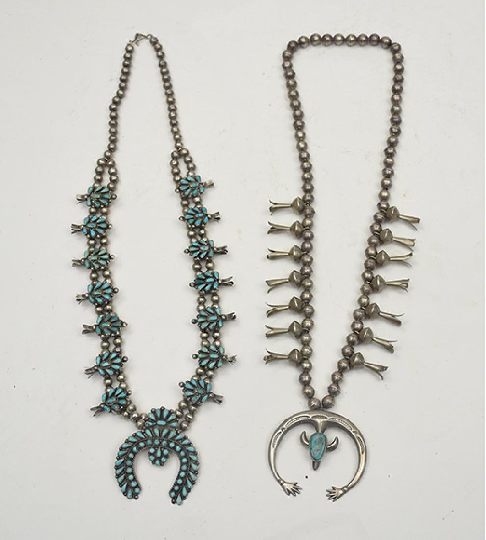 Two Native American (Indian) squash blossom necklaces