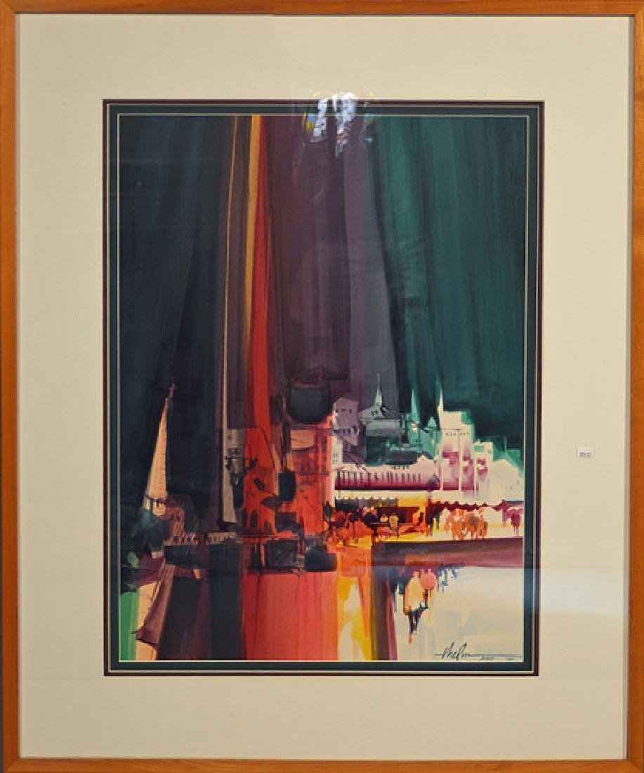 """Watercolor, """"Winter Glow"""" Gloucester Harbor"""