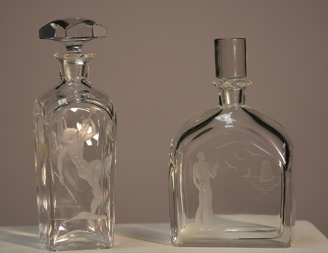 Etched Decanters, one Orrefors