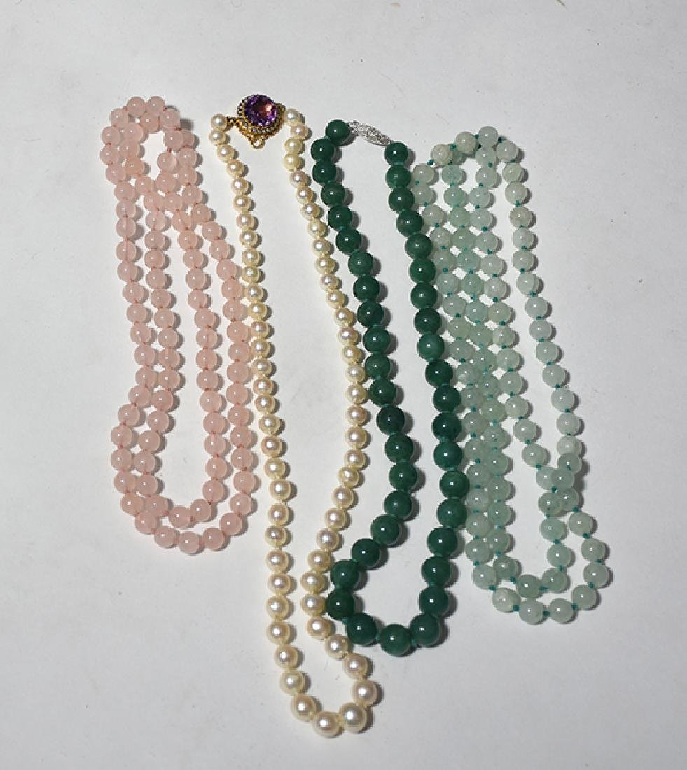 Assorted Jade, Pearl & Rose Quartz Necklaces
