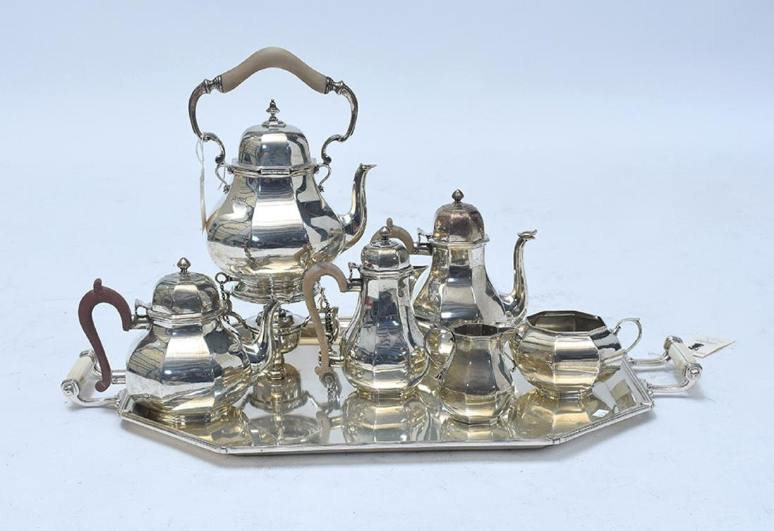 English sterling six piece coffee and tea set with