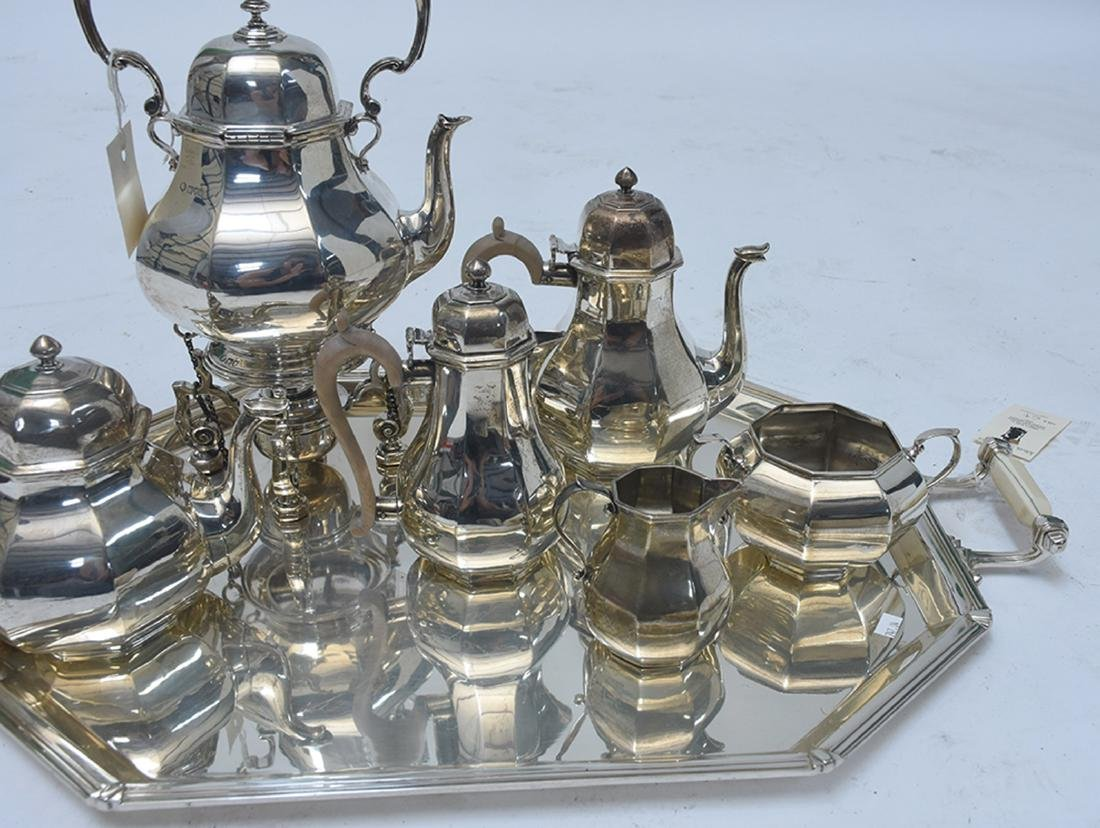 English sterling six piece coffee and tea set with - 2