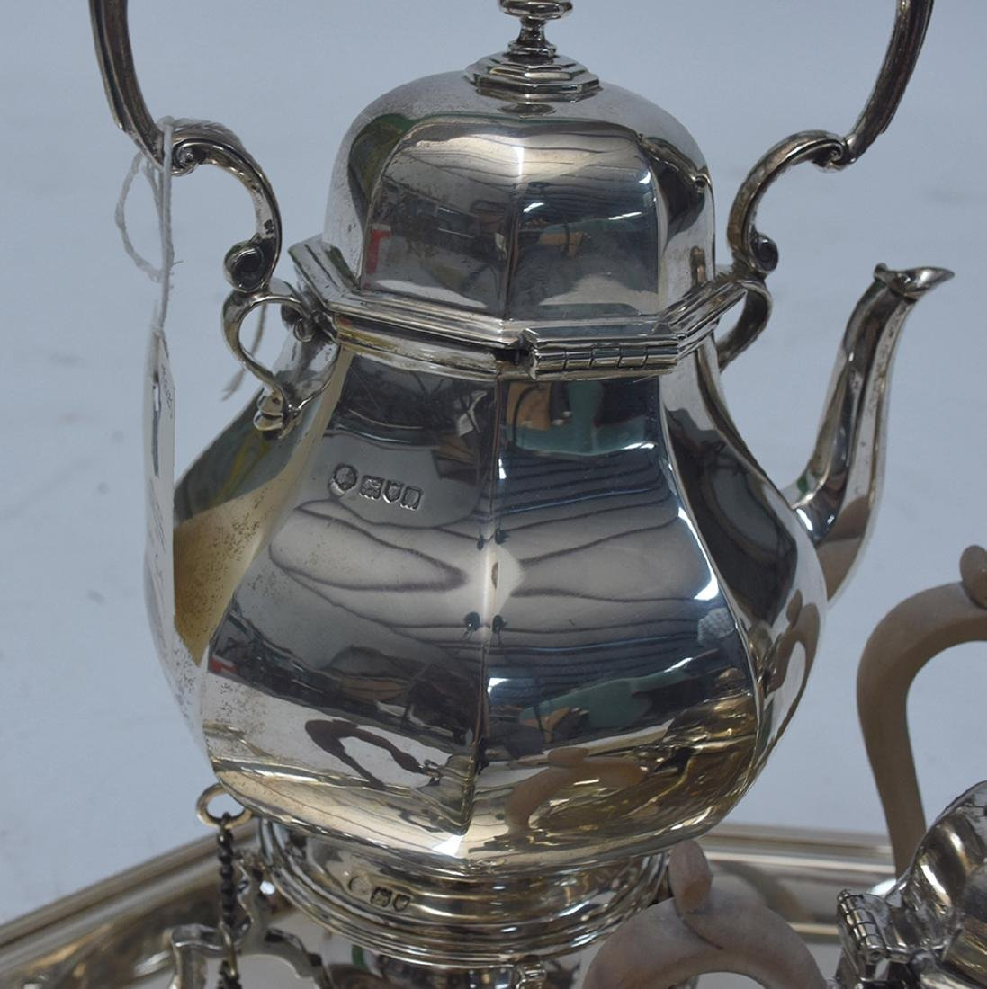 English sterling six piece coffee and tea set with - 4