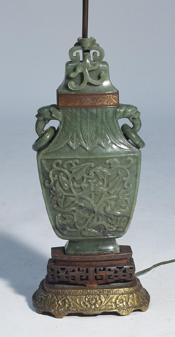 Large Chinese jade urn converted to lamp with carved