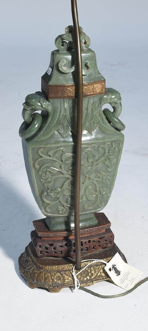 Large Chinese jade urn converted to lamp with carved - 4