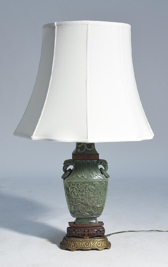 Large Chinese jade urn converted to lamp with carved - 6