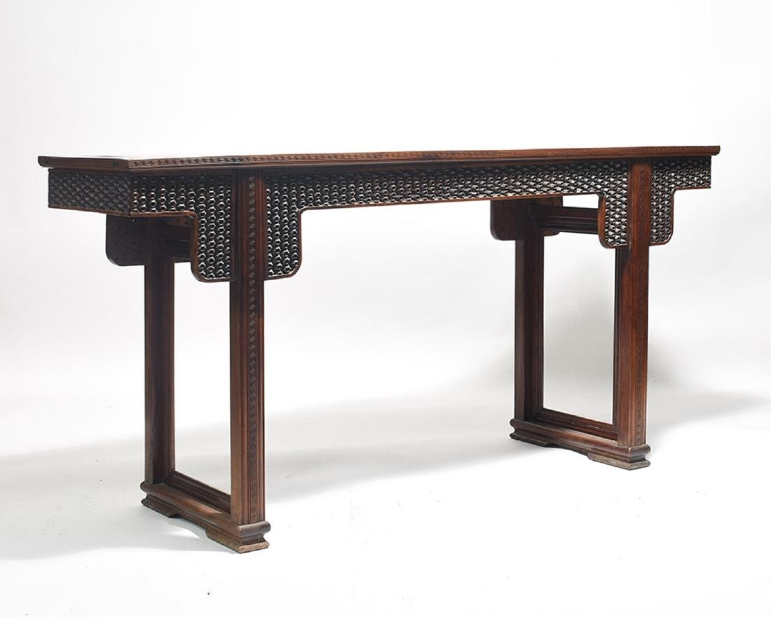 Unusual Chinese hard wood alter table carved ball