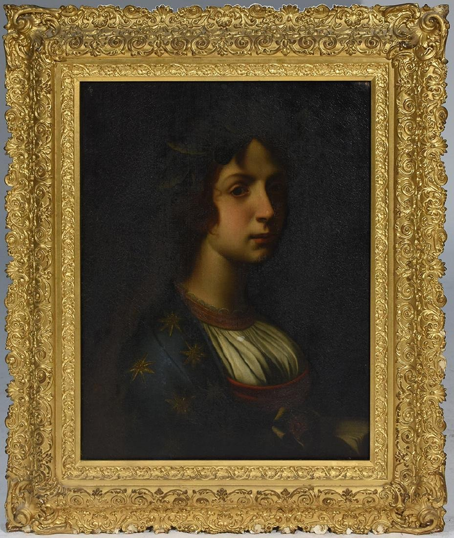 Mid 19th C. portrait of young woman in fancy gilt frame