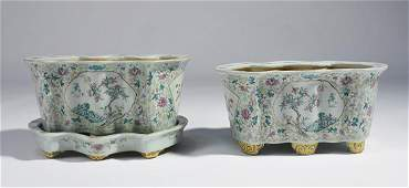 Pair of Chinese Famille Rose, shaped porcelain planters