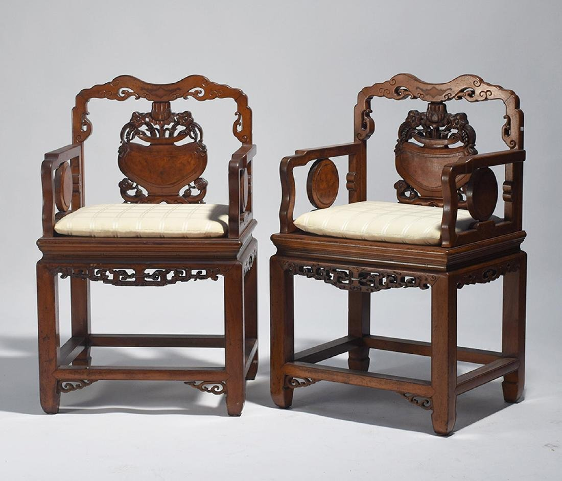 Pair Chinese carved armchairs
