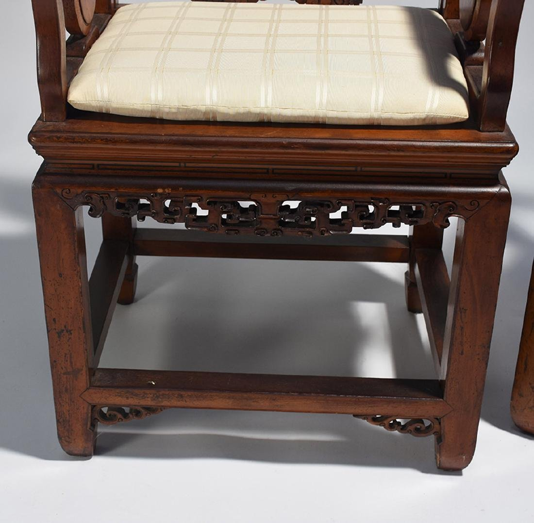 Pair Chinese carved armchairs - 2