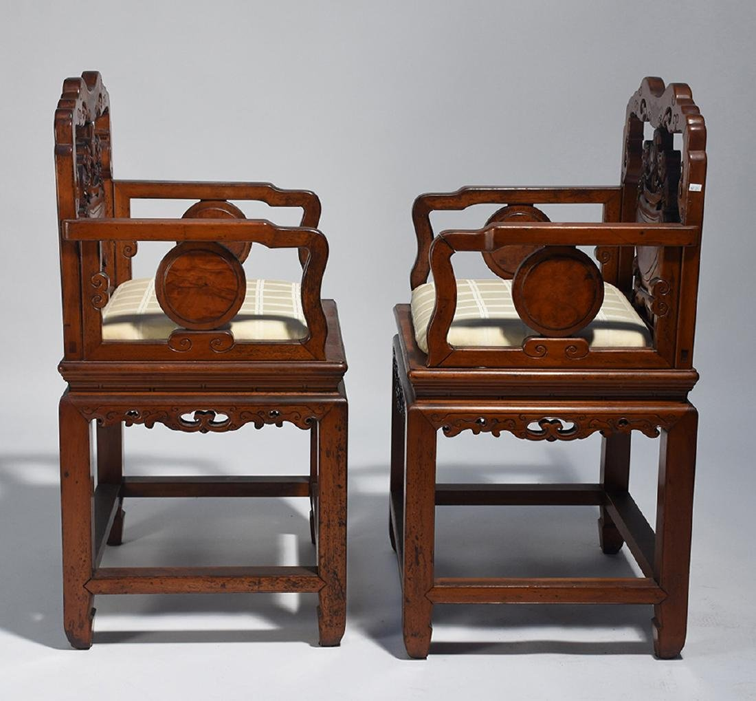 Pair Chinese carved armchairs - 3