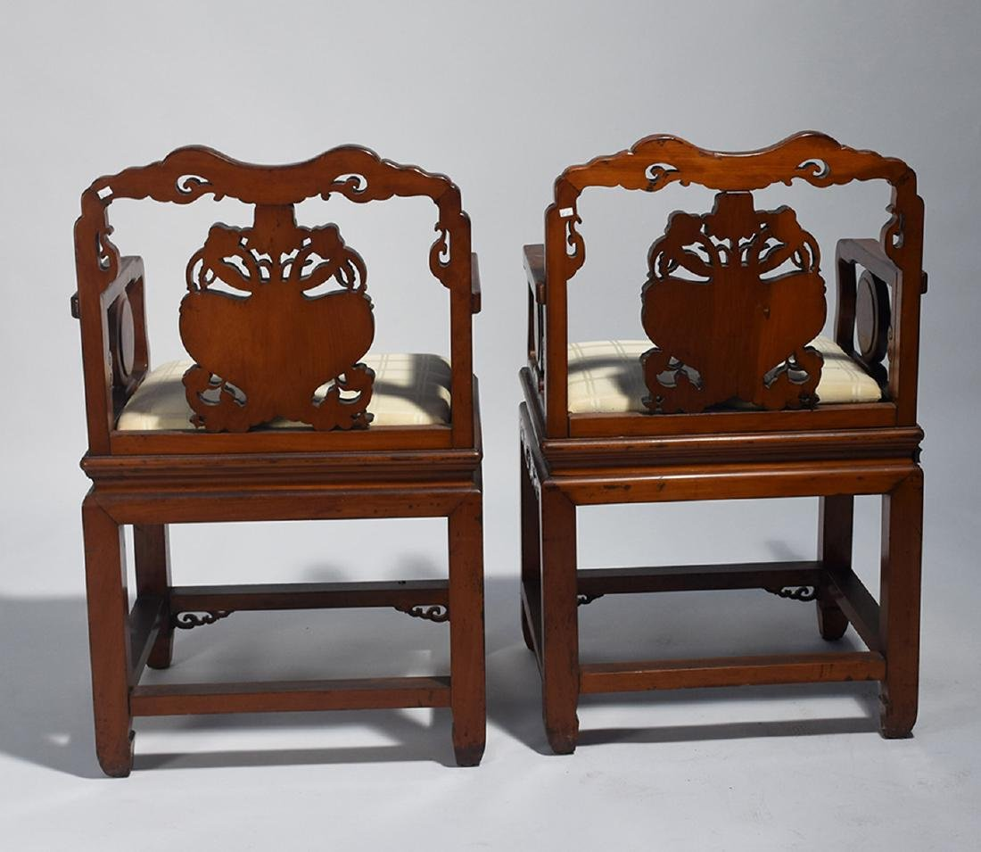 Pair Chinese carved armchairs - 4