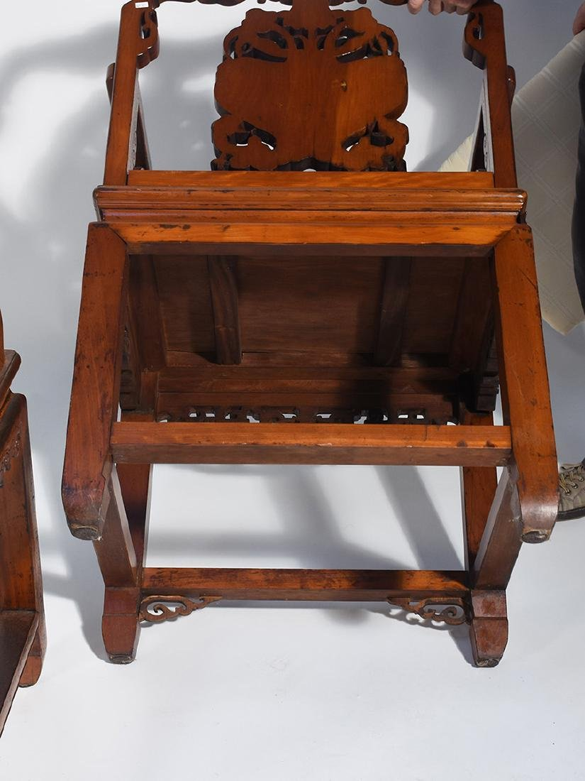 Pair Chinese carved armchairs - 5
